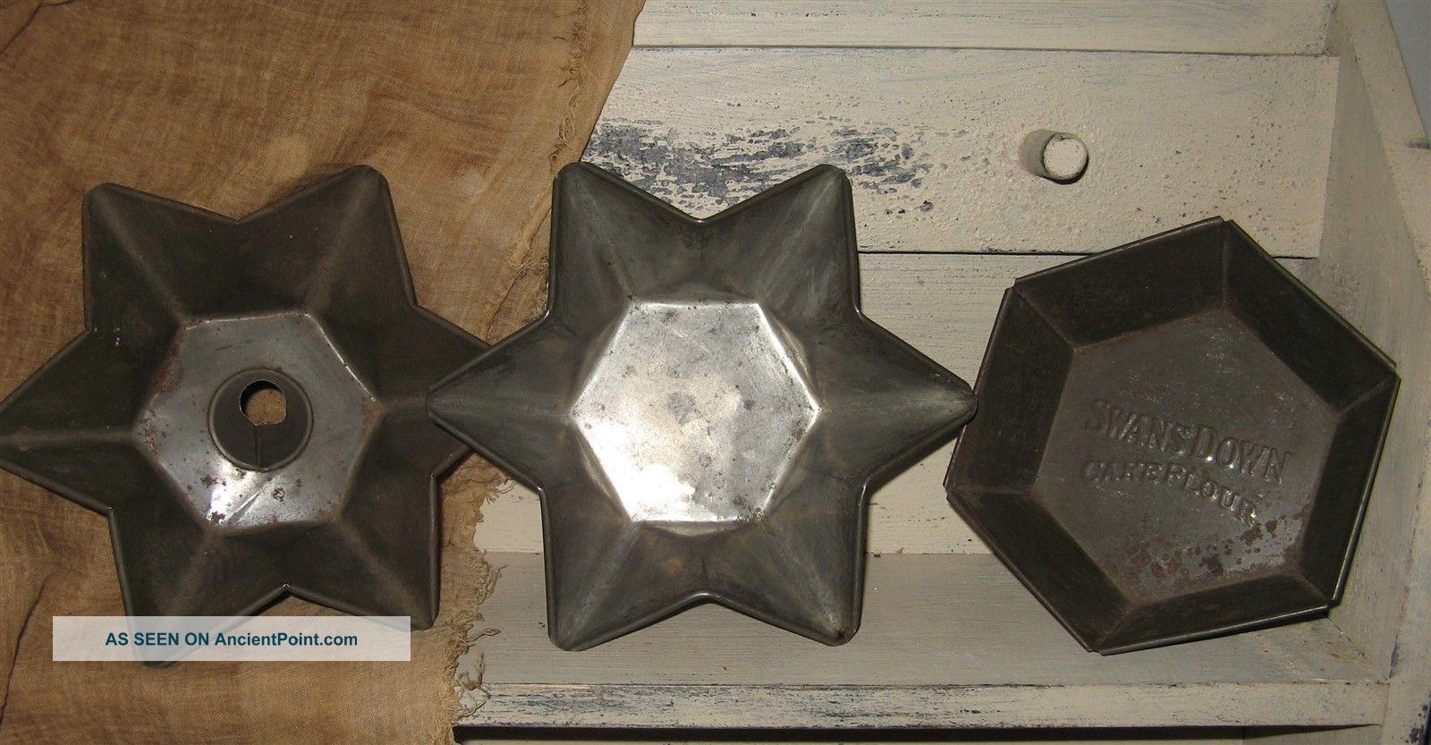 3 Vintage Country Primitive Tin Cake Pans Stars/swans Down Hexagon Primitives photo