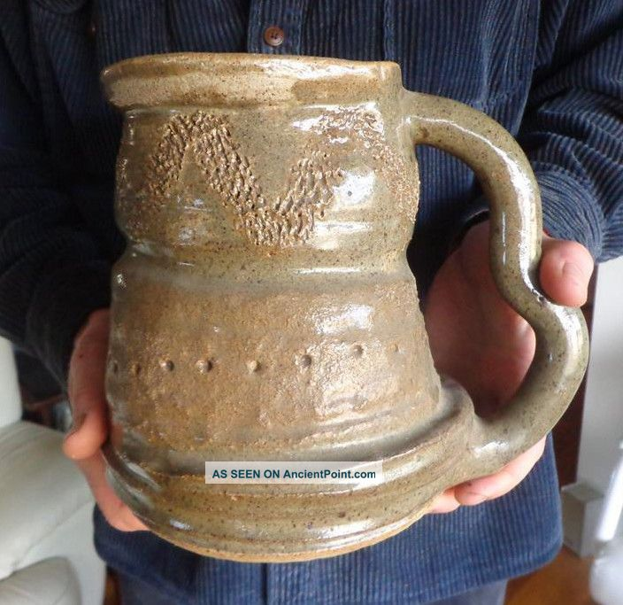 Ugly Vtg Stoneware Pottery Art Pitcher Chicken Waterer Primitive Country Ooak Primitives photo