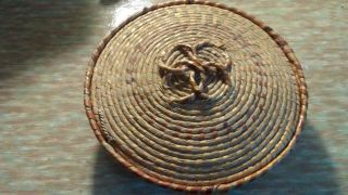 Cherokee Indian Primitive Sweet Grass Coil Basket With Lid photo