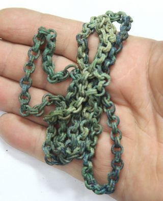 Ancient Viking Bronze Chain To Wear Amulet Big Size Weight - 65g photo