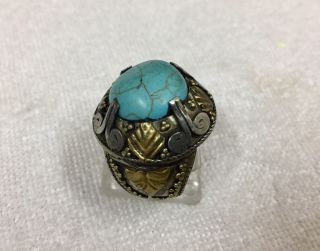 Men ' S Silver Engraved Ring Turquoise Near Eastern Islamic Vintage Medieval 10 Us photo