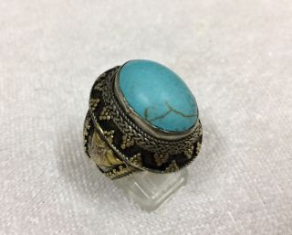 Men ' S Silver Engraved Rings Turquoise Near Eastern Islamic Vintage Medieval 10 photo