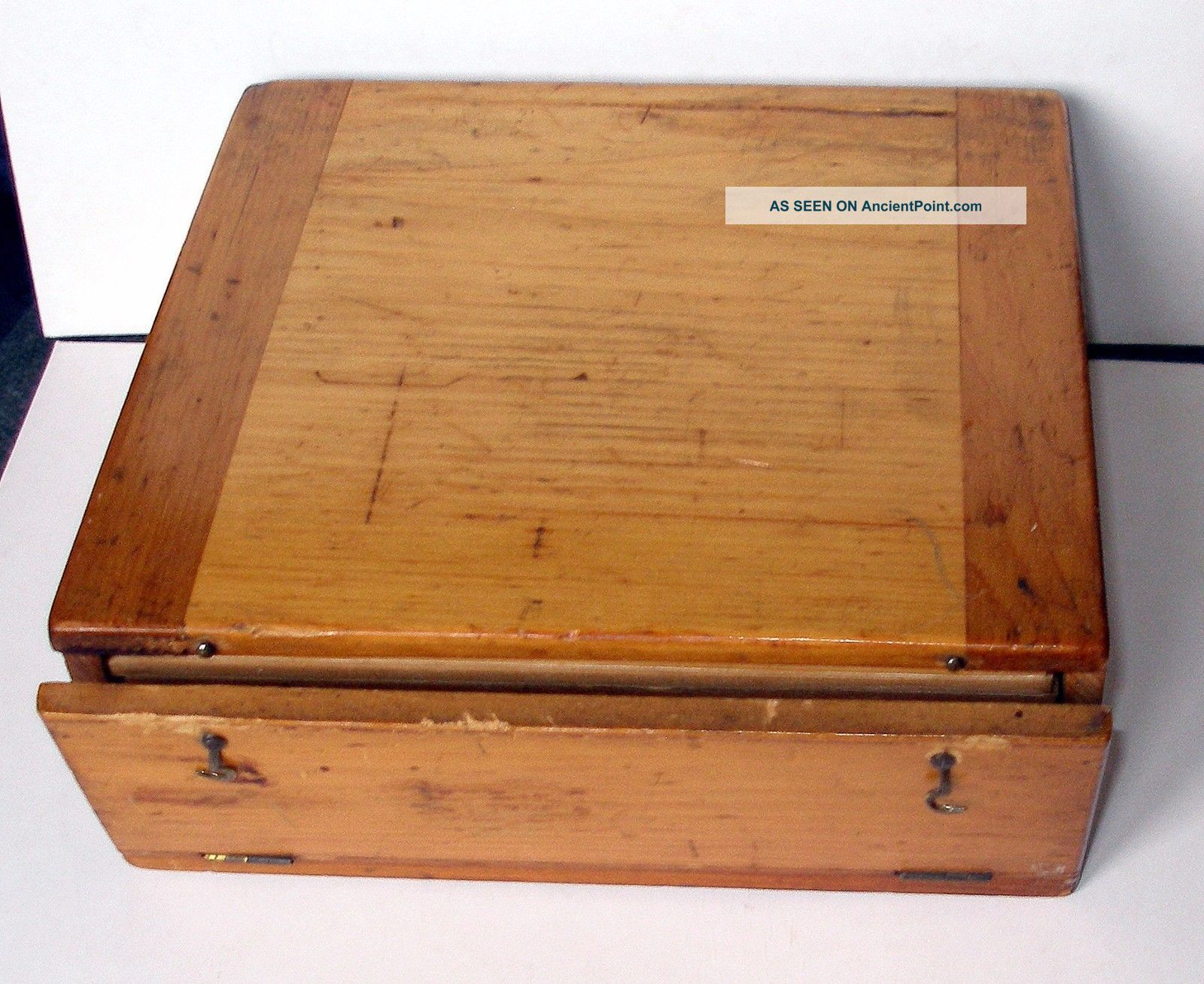 19th.  C.  Microscope Slide Pine Display / Storage Case For 144 Mounts (a/f) Other Antique Science Equip photo