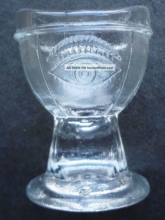 Htf Antique Collectible E - Z Glass Eye Wash Cup - Dated 1937 - Finger Hold Stem Optical photo