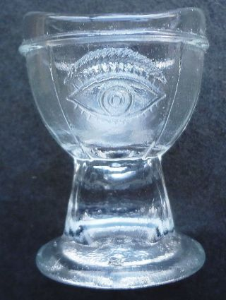 Htf Antique Collectible E - Z Glass Eye Wash Cup - Dated 1937 - Finger Hold Stem photo