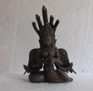 Vintage Handcrafted Snake Nag Kanya Goddess Mansa Brass Sculpture Statue photo