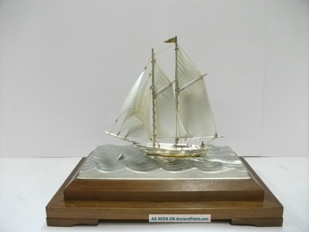 The Sailboat Of Silver960 Of Japan.  2masts.  73g/ 2.  57oz.  Takehiko ' S Work. Other Antique Sterling Silver photo
