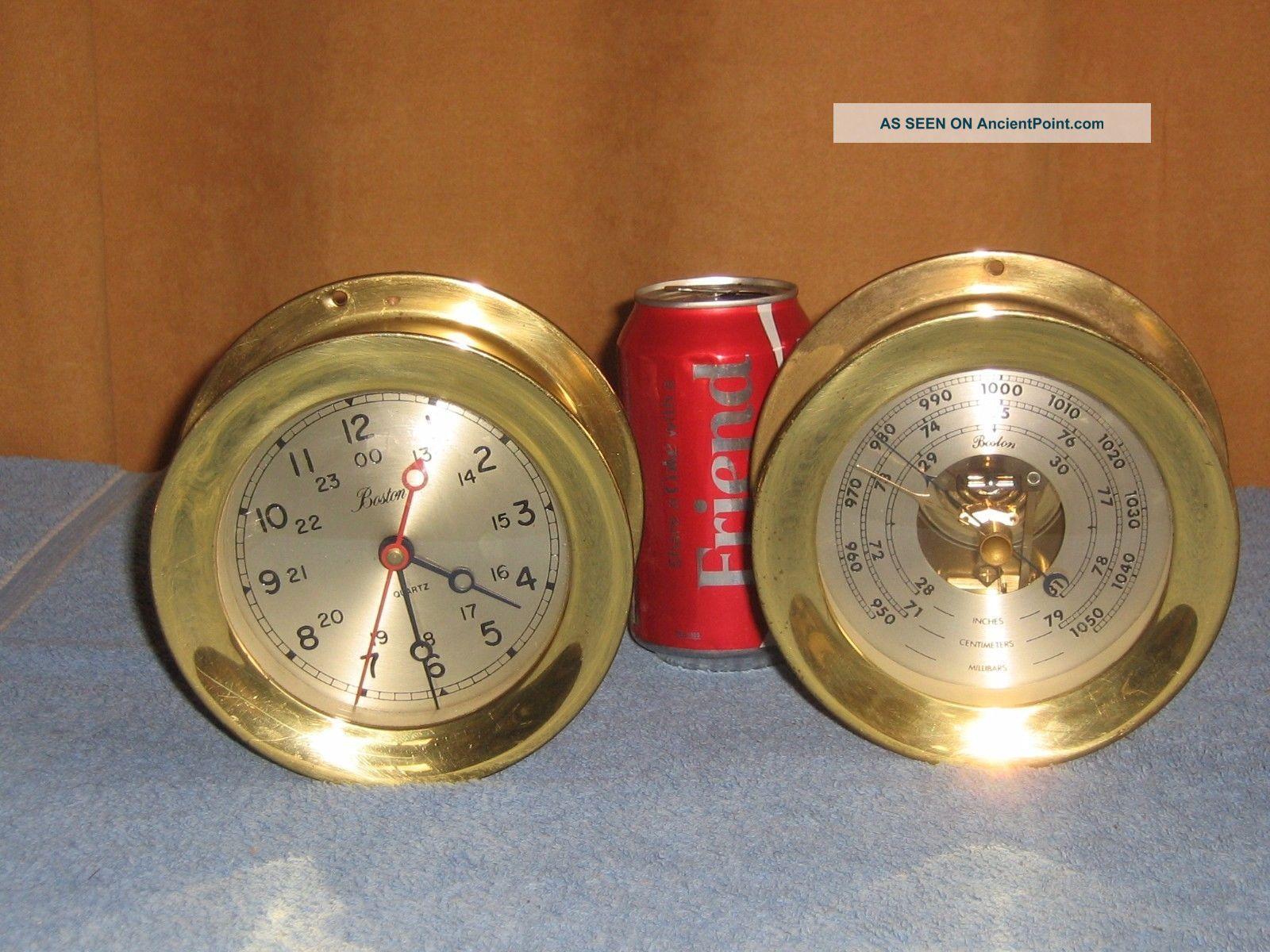 Boston Clock & Barometer Nautical Brass Ships Maritime Clock Quartz Movement Clocks photo