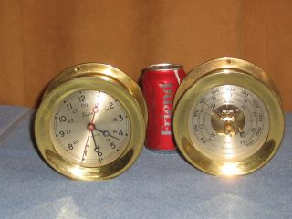 Boston Clock & Barometer Nautical Brass Ships Maritime Clock Quartz Movement photo