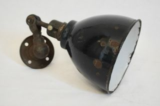 Vintage 1930s Teal Enamel Machinists Industrial Wall Lamp Light photo
