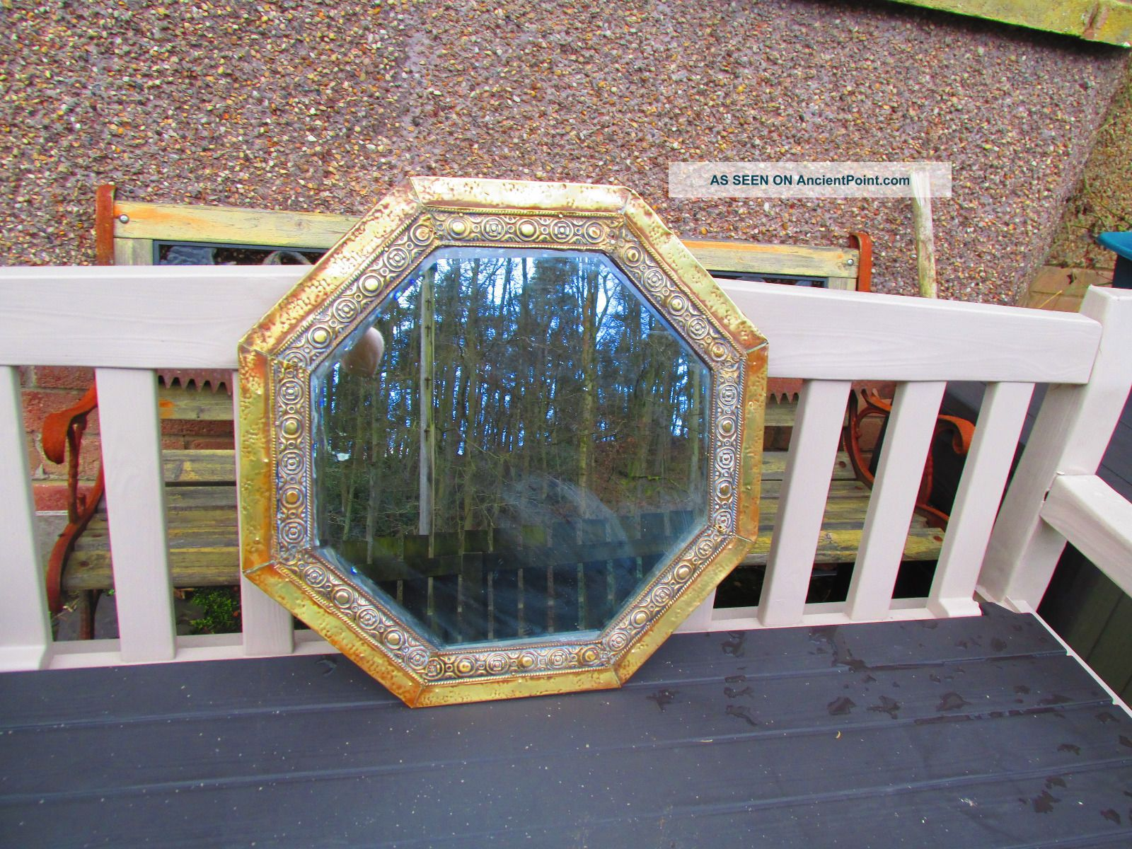 Arts & Crafts Brass Octagonal Mirror With Bevelled Glass To Restore 20th Century photo