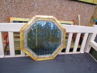Arts & Crafts Brass Octagonal Mirror With Bevelled Glass To Restore photo