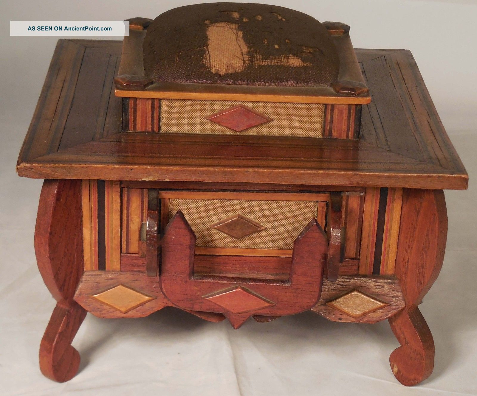 Victorian Inlaid Sewing Box W/ Drawer Early 1900 Boxes photo