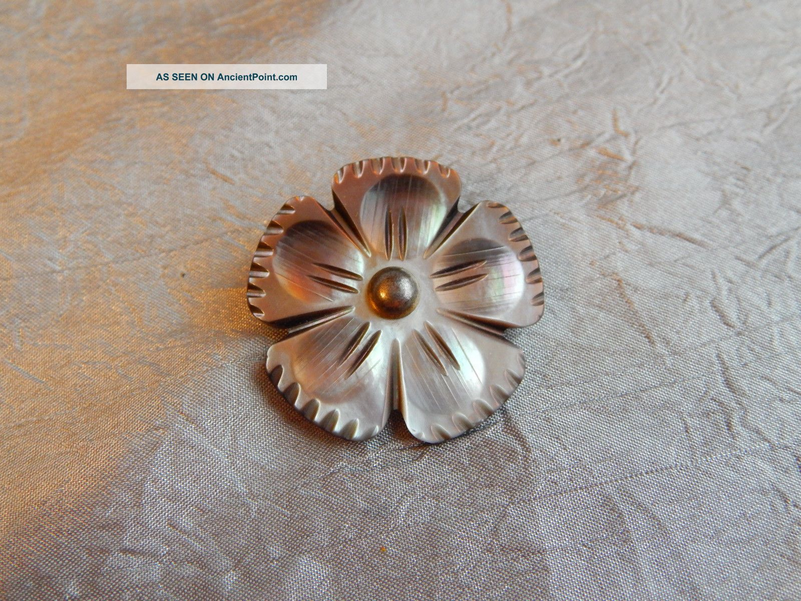 Vintage Button Carved Flower Mother Of Pearl Abalone Shell 503 - A Buttons photo