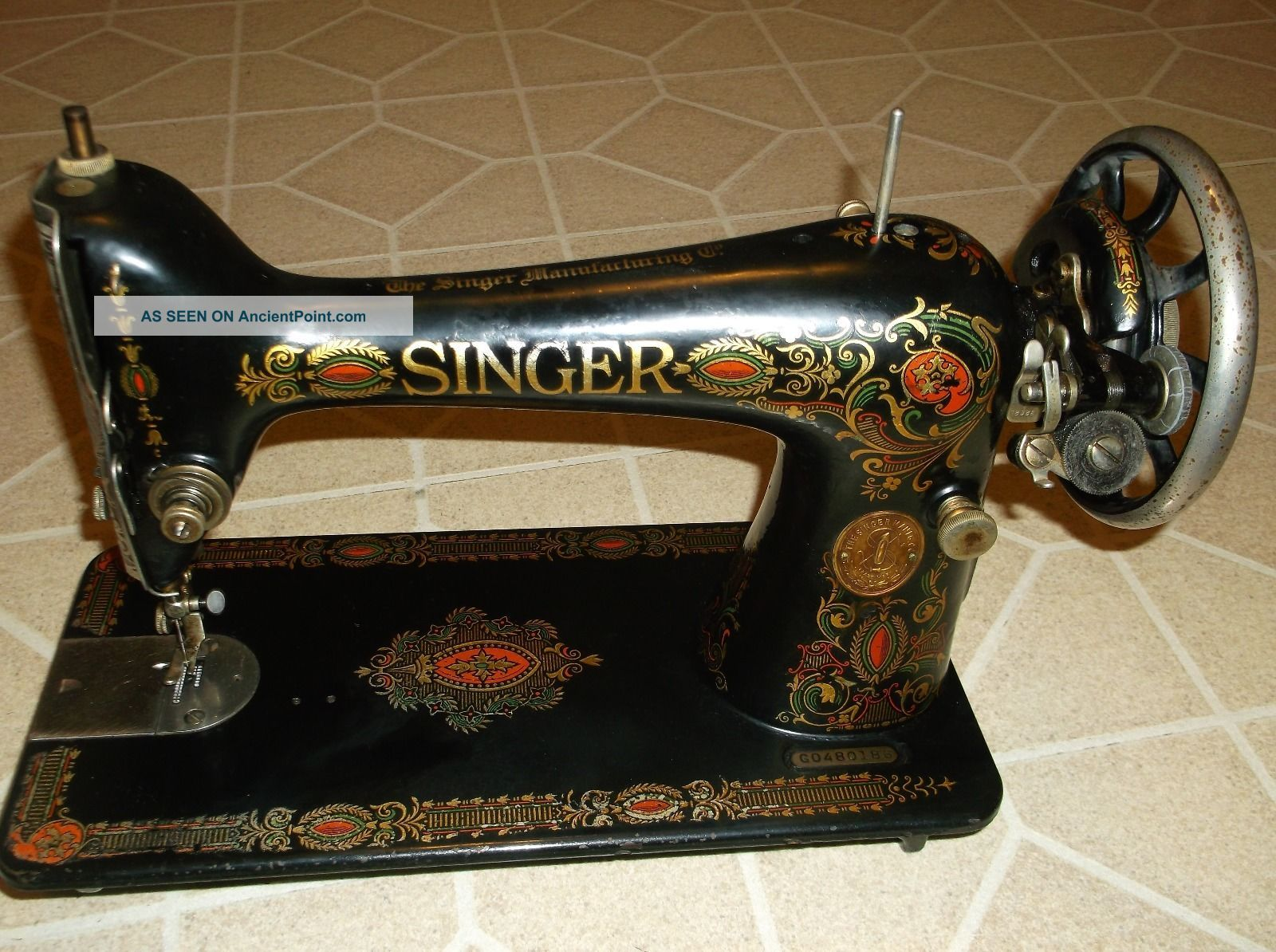 1923 Singer Red Eye Treadle Sewing Machine Head,  Model 66, Sewing Machines photo