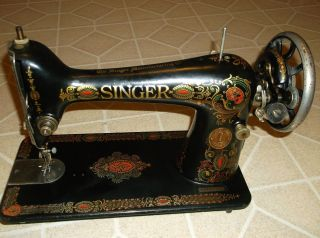 1923 Singer Red Eye Treadle Sewing Machine Head,  Model 66, photo