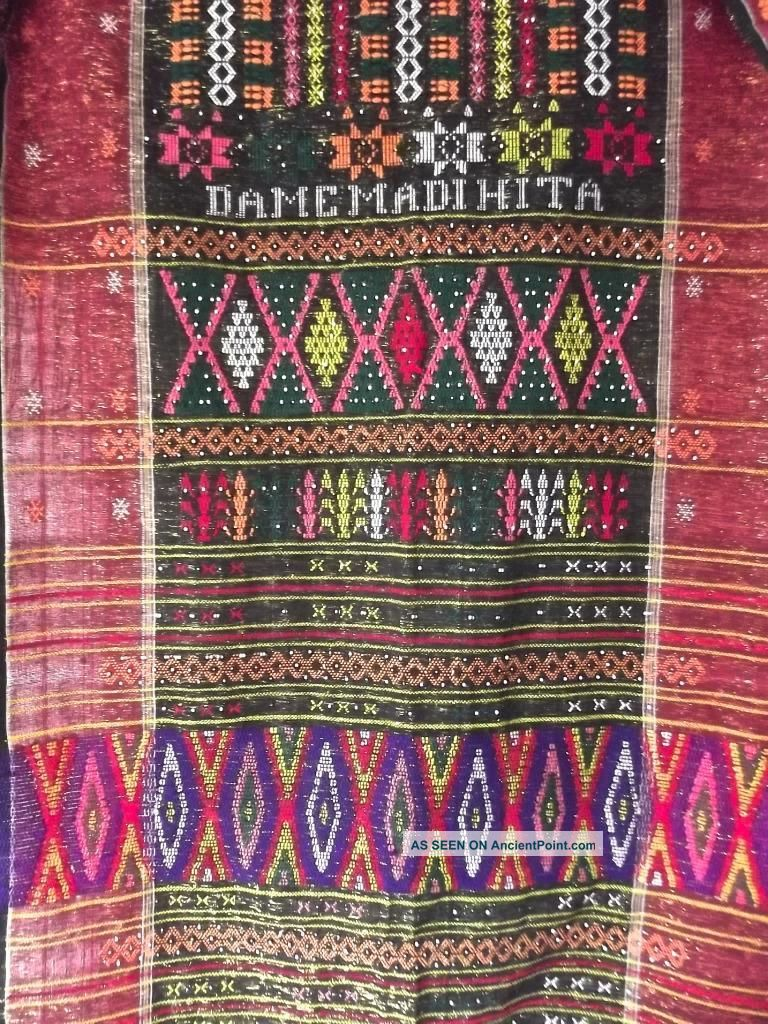 Vintage Indonesia North Sumatra Hand - Woven Beaded Batak Ulos Shawl 30x88 Textile Pacific Islands & Oceania photo