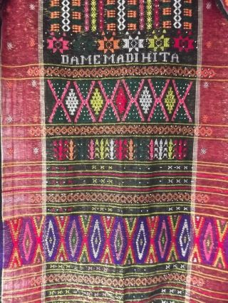 Vintage Indonesia North Sumatra Hand - Woven Beaded Batak Ulos Shawl 30x88 Textile photo