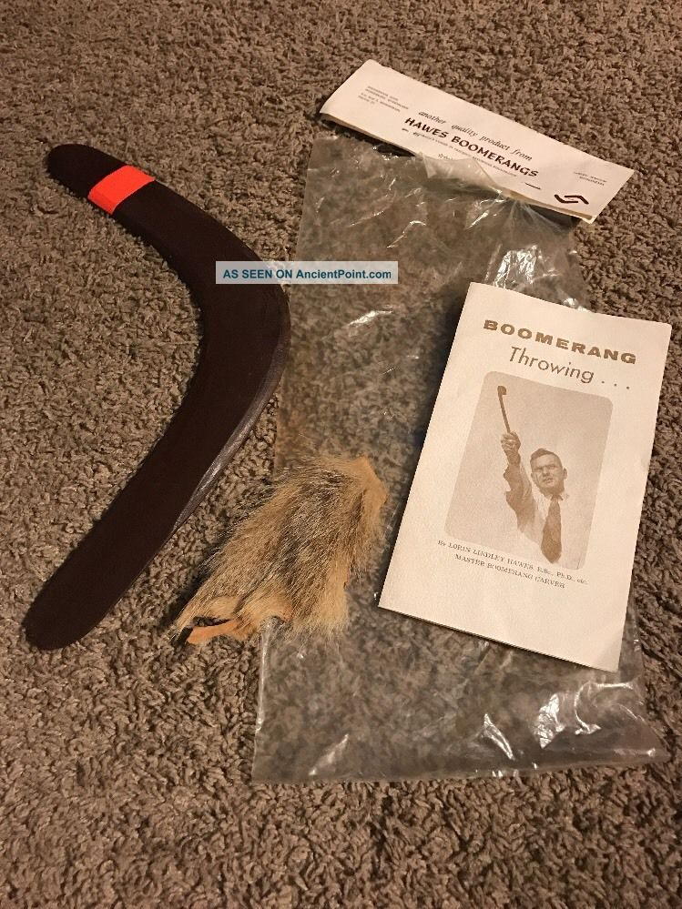 Vintage Hawes Boomerang - Australia W/ Bag,  Kangaroo Fur - From 1960 ' S Pacific Islands & Oceania photo