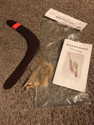 Vintage Hawes Boomerang - Australia W/ Bag,  Kangaroo Fur - From 1960 ' S photo