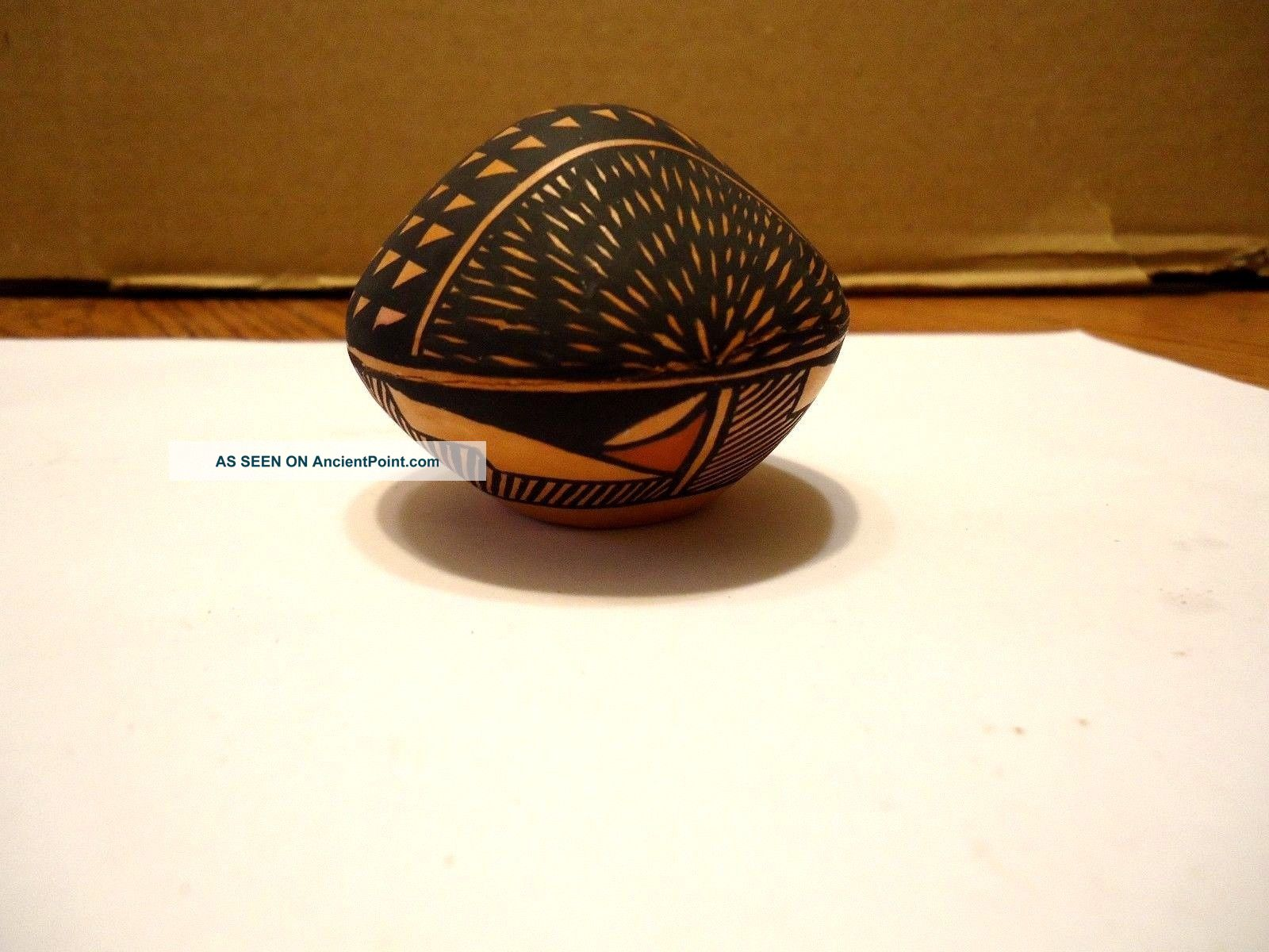 Native American Acoma Pueblo Miniature Seed Pot By Kim ' A ' Aits ' A.  Signed.  Repaired Native American photo