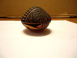 Native American Acoma Pueblo Miniature Seed Pot By Kim ' A ' Aits ' A.  Signed.  Repaired photo
