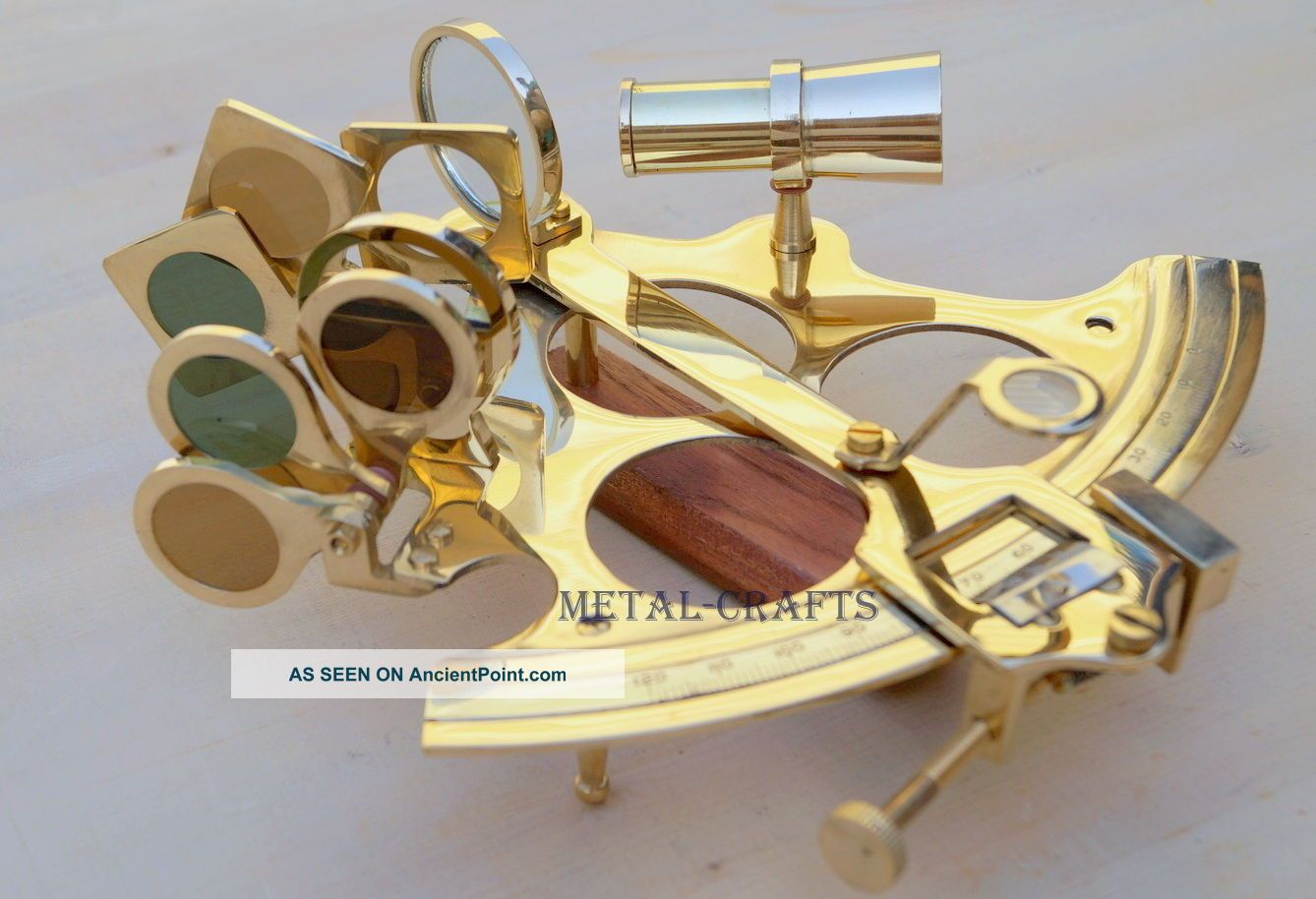 Solid Brass Sextant Ship Navigation Egypt Astrolabe Educational Brass Sextant Sextants photo