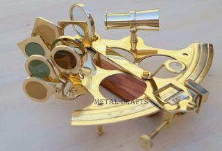 Solid Brass Sextant Ship Navigation Egypt Astrolabe Educational Brass Sextant photo