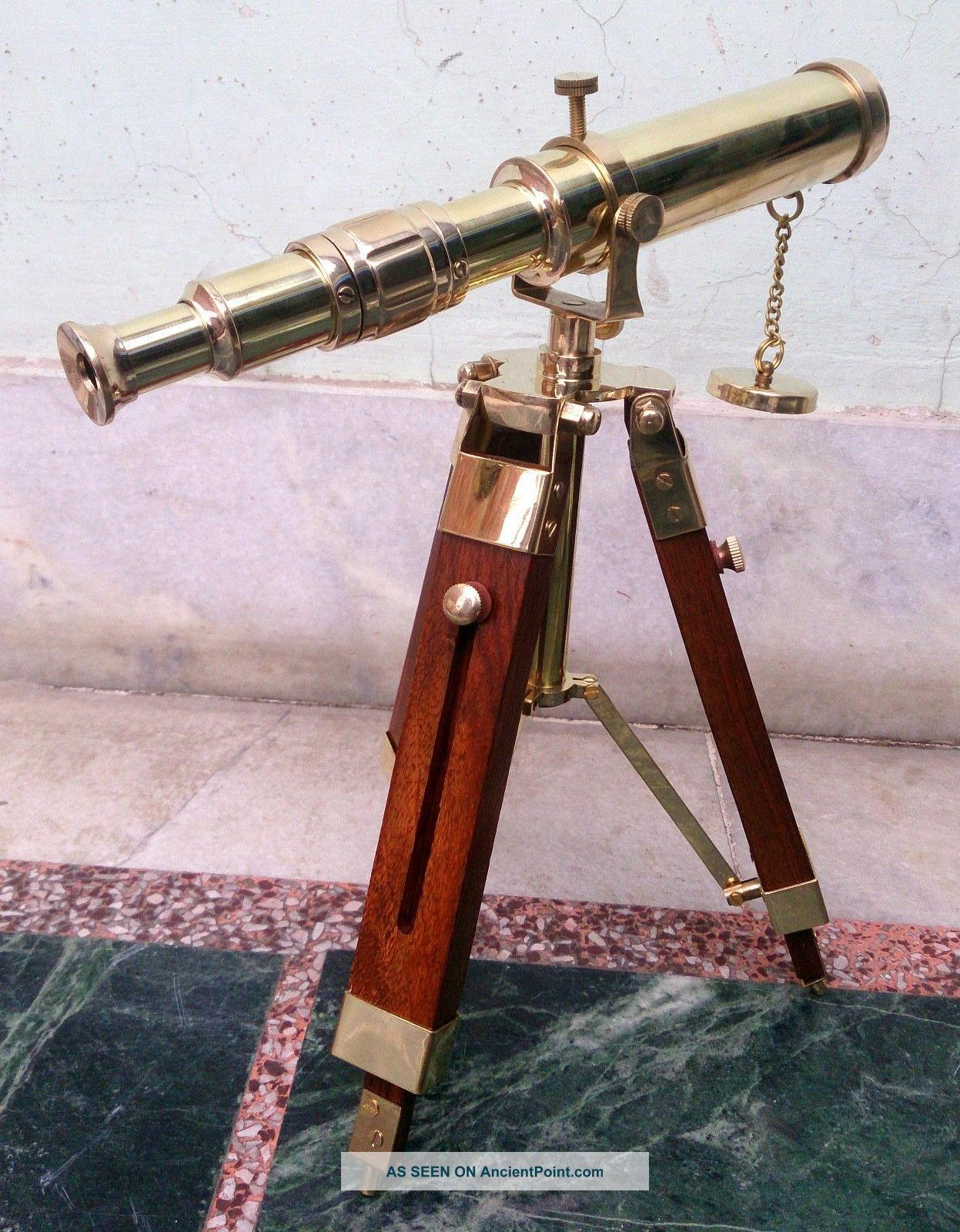 Maritime Vintage Marine Scope Spyglass Brass Telescope With Stand Nautical Decor Telescopes photo