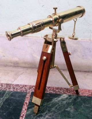 Maritime Vintage Marine Scope Spyglass Brass Telescope With Stand Nautical Decor photo