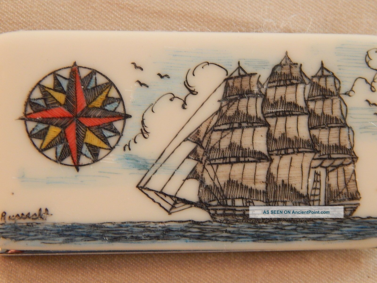 Scrimshaw Resin Money Clip Side Ship - Compass Rose Colored Scrimshaws photo