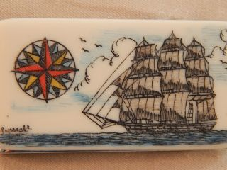 Scrimshaw Resin Money Clip Side Ship - Compass Rose Colored photo