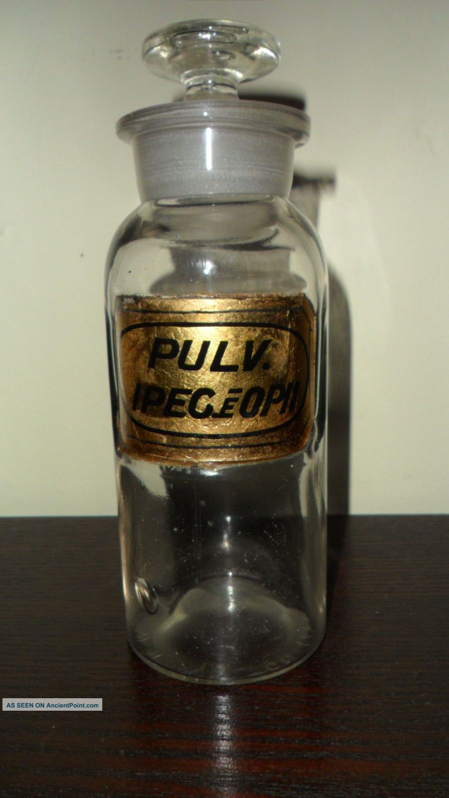 Civil War Era 1862 Opium Opii Apothecary Pharmacy Label Under Glass Bottle Bottles & Jars photo