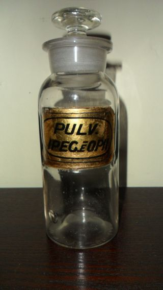 Civil War Era 1862 Opium Opii Apothecary Pharmacy Label Under Glass Bottle photo