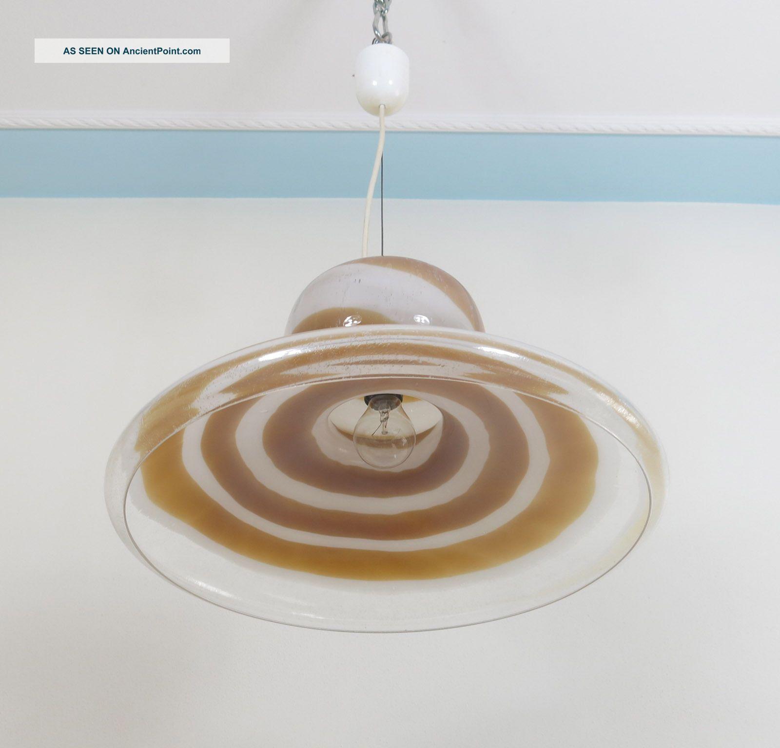 Italian Vintage Murano Pulegoso Glass Chandelier Lamp Mazzega Attrib.  - Nason Era Mid-Century Modernism photo