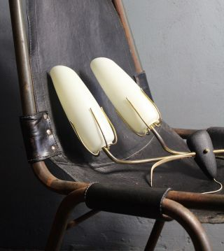 Pair Mid Century Wall Lights Sconces 50s 60s Art Deco (stinovo Perriand Era photo