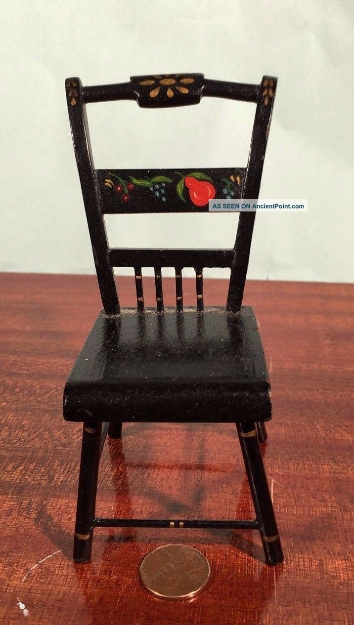 Antique Miniature Hitchcock Thumb Back Chair Doll Tole Folk Art Handmade 1800-1899 photo