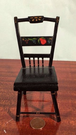 Antique Miniature Hitchcock Thumb Back Chair Doll Tole Folk Art Handmade  Photo