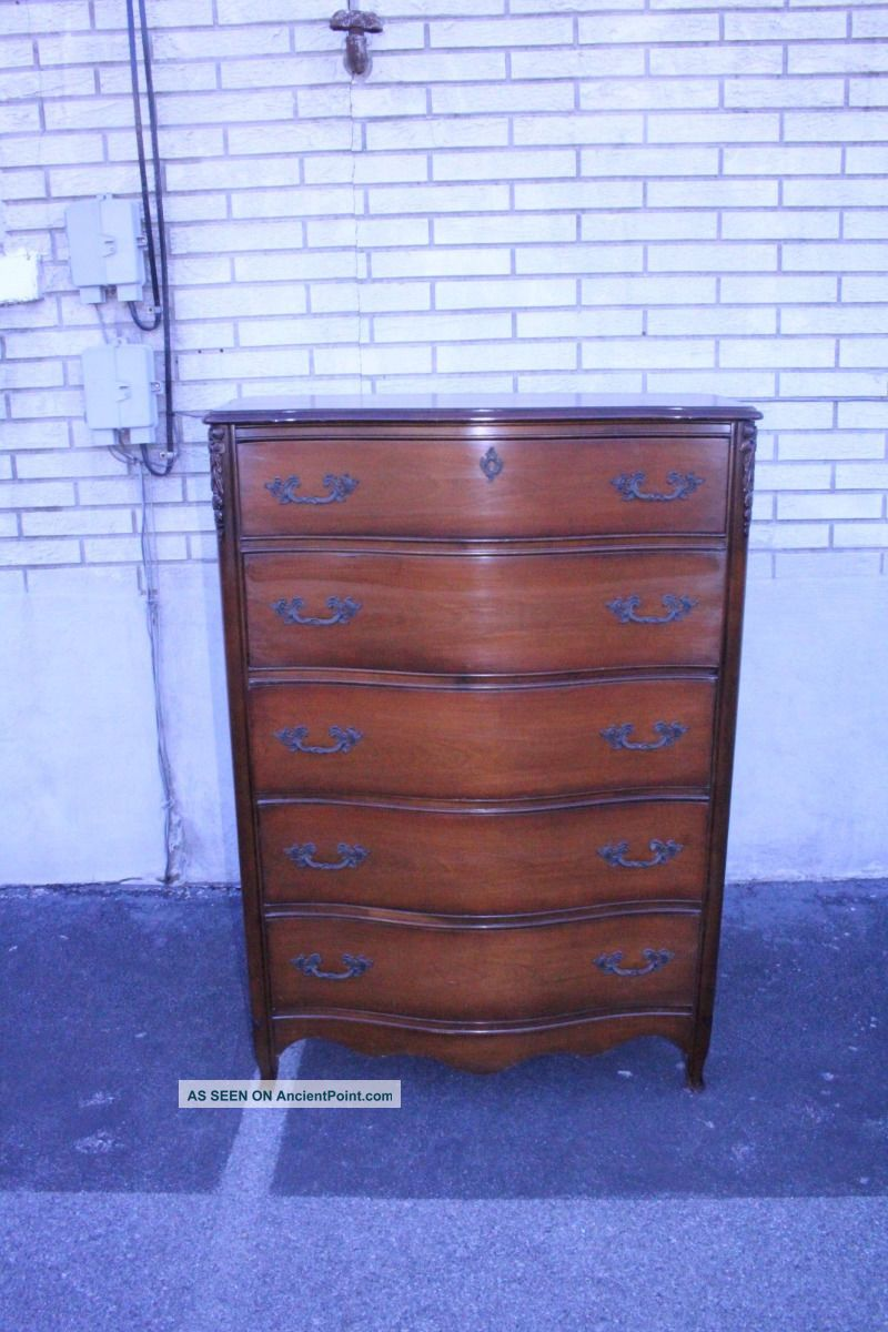 Wonderful Country French Mahogany Laundry,  High Chest Dresser With Drawers 1900-1950 photo