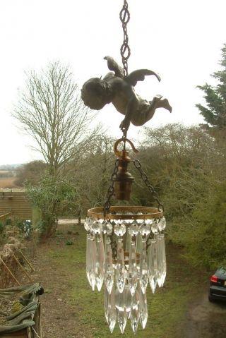 Antique 1890 Solid Bronze Cherub Chandelier Ceiling Light Putti photo