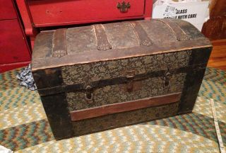 Antique,  Dome Top Tin / Wood Ornate Steamer Trunk (late 1800,  S - Victorian) photo
