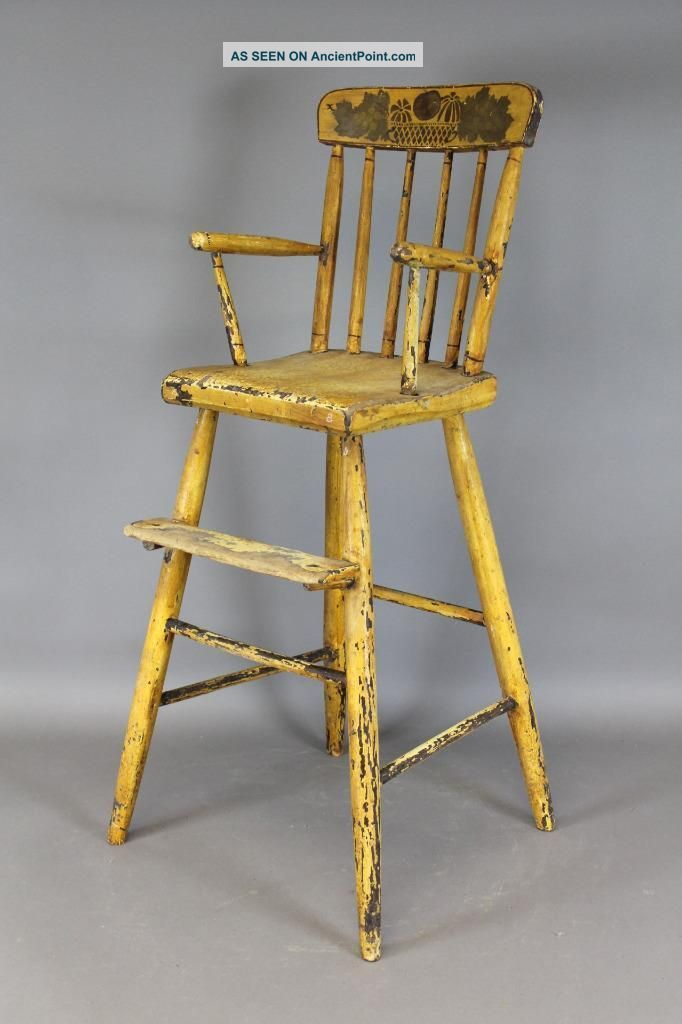 Great Early 19th C Ct Child ' S Windsor Highchair Yellow Decorated Paint Primitives photo