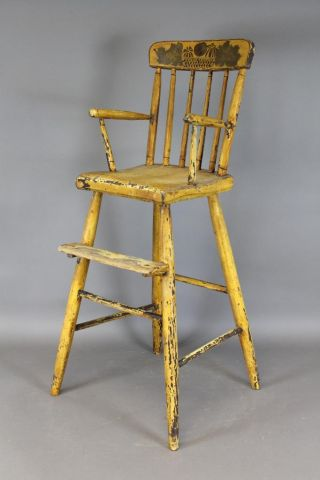 Great Early 19th C Ct Child ' S Windsor Highchair Yellow Decorated Paint photo
