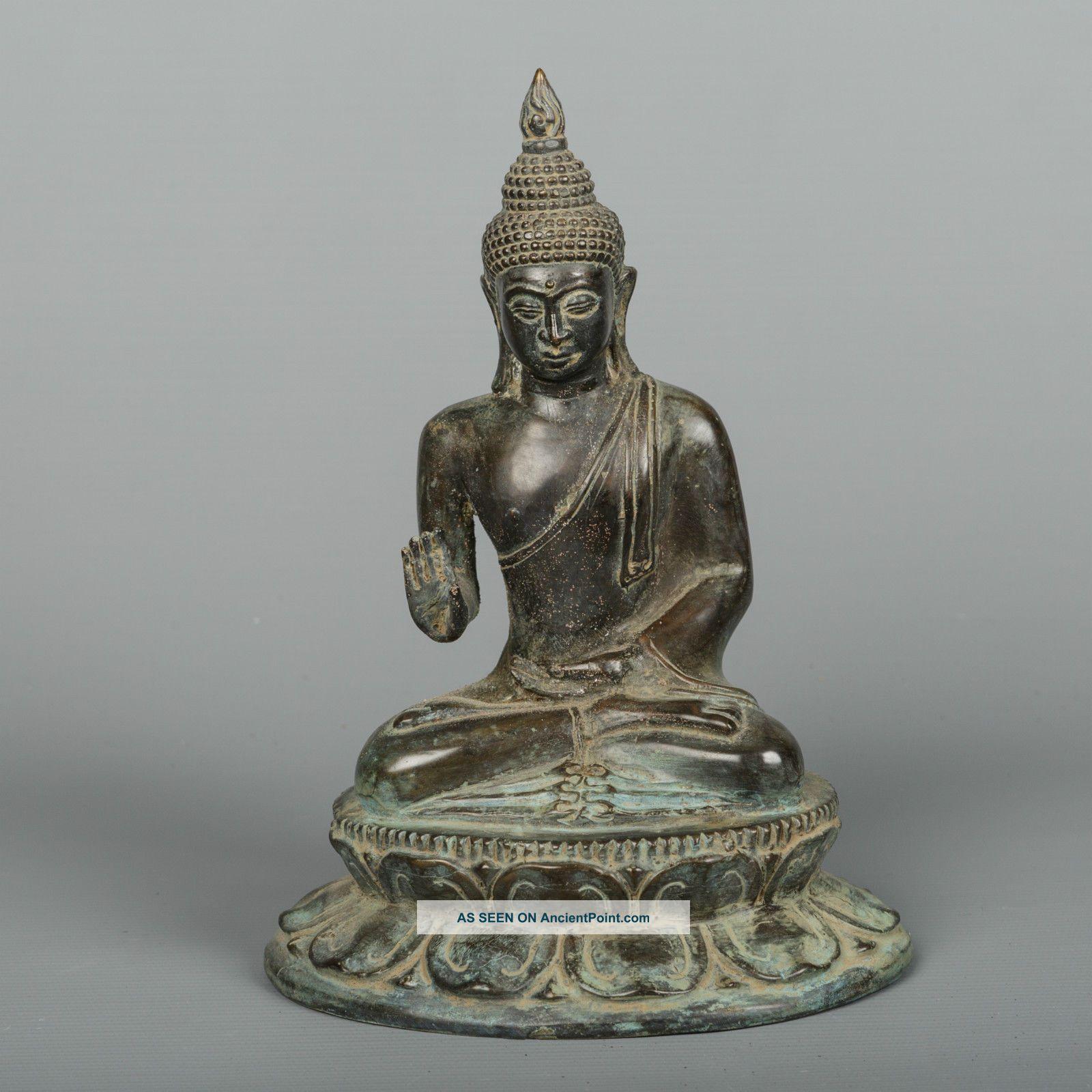 Antique Thai Style Bronze Sukhothai Buddha Statue In Abhaya Teaching - 21cm/8.  5