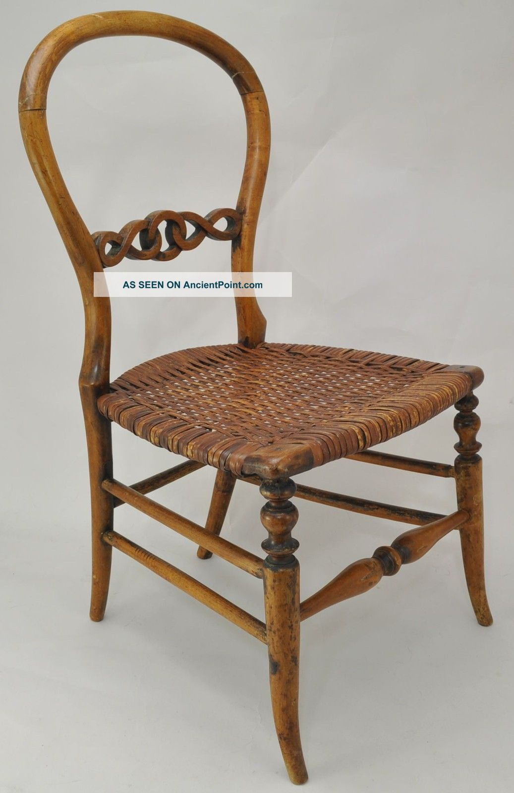 Antique Victorian Balloon Back Child Or Doll Size Fruit Wood And Cane Seat Chair 1800-1899 photo