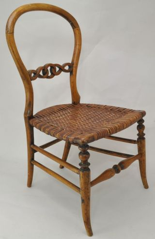 Antique Victorian Balloon Back Child Or Doll Size Fruit Wood And Cane Seat Chair photo