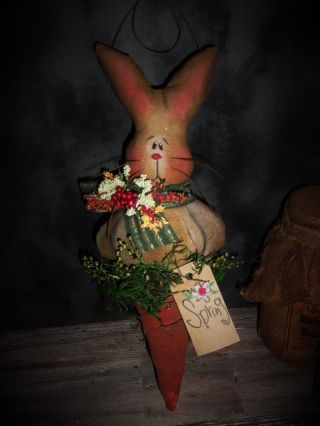 Primitive 12x5in Bunny In A Carrot Hanging Spring Country Rusty Old Doll photo