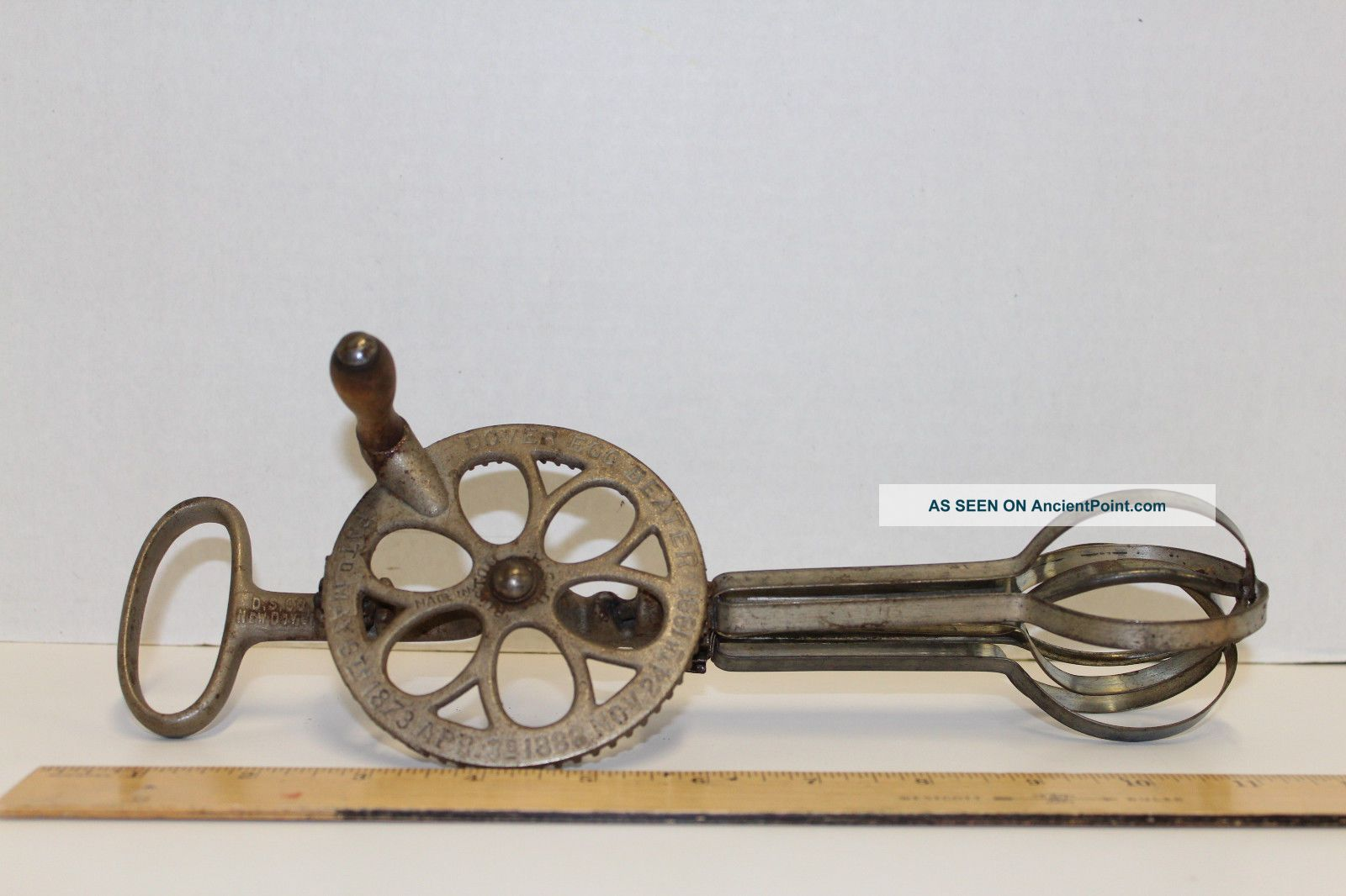 Antique Dover Egg Beater,  Boston,  Stamped 3 Patent Dates; 1873 1988 1891 - Aafa Primitives photo