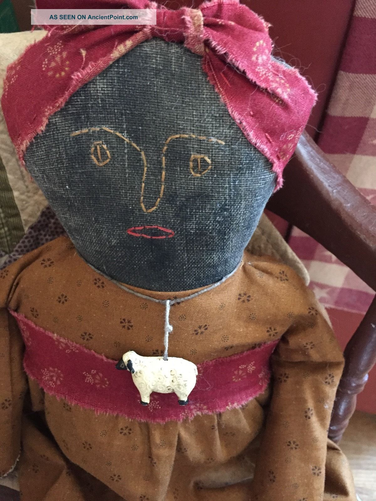 Early Primitive Handmade Black Doll Mustard/red Repro Civil War Fabric Primitives photo