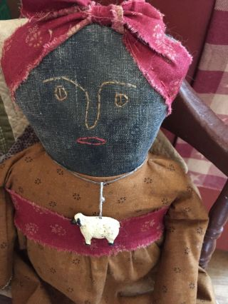 Early Primitive Handmade Black Doll Mustard/red Repro Civil War Fabric photo